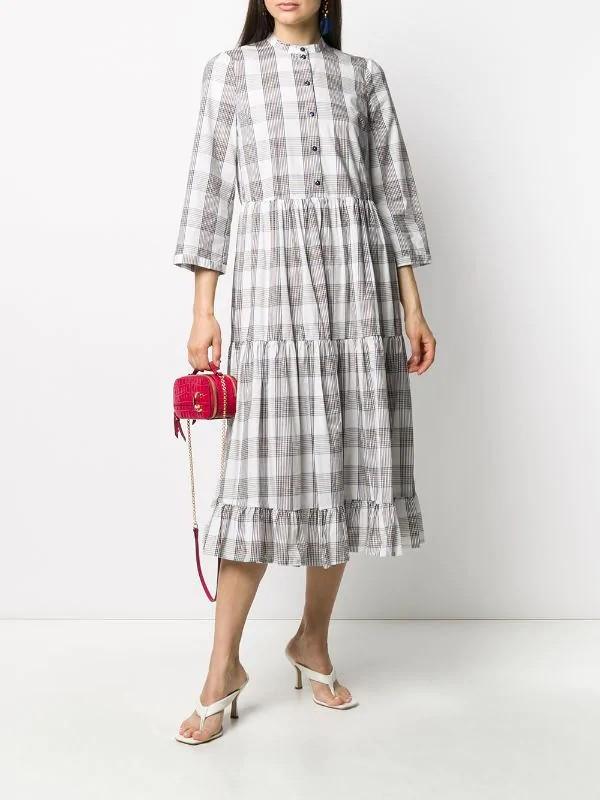 Baum Und Pferdgarten Alexine Multi Check L/S Dress Cream/Navy/Brown