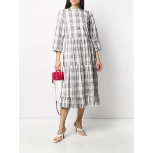 Alexine Multi Check L/S Dress Cream/Navy/Brown