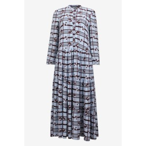 Aia Blossom Check Dress Blue/Brown