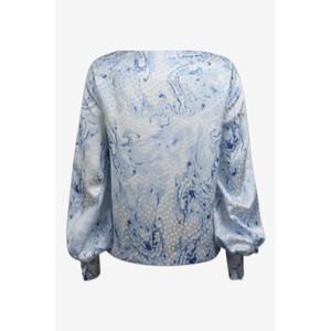 Baum Und Pferdgarten Mariacarla Wide Nk Silk Blouse Blue Marble