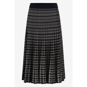 Cyrilla Dogtooth Pleated Skirt Navy/Chocolate