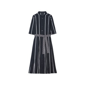 Striped Shirt Drs w/Belt Dark Blue/White