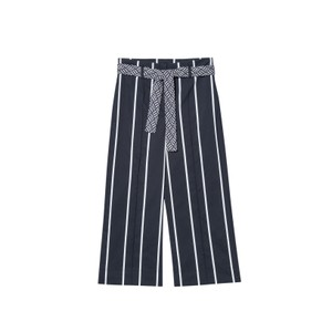 Stripe Wide Leg Crops w/Belt Dark Blue/White
