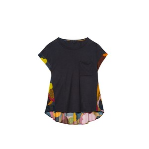 S/S Tee w/Sheer Floral Back Charcoal/Multi