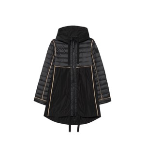 Quilted Panel Parka-Thinsulate Black/Tan