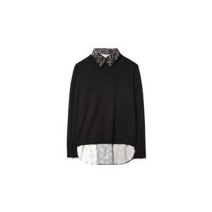 Contrast Back Knit-Collar Insert Black/White