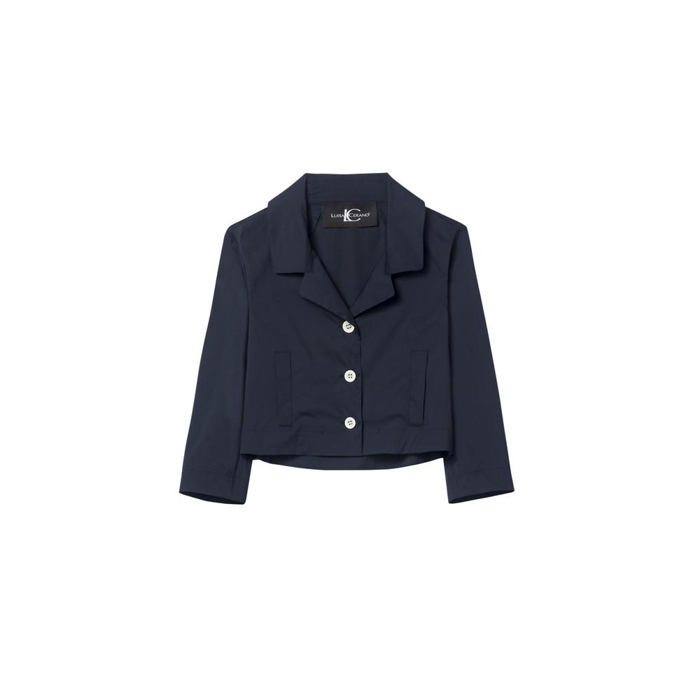 Luisa Cerano Cropped Stretch Cotton Jkt Dark Blue