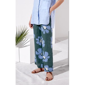 Rosso35 Floral Trousers Eucalyptus/Skyblue