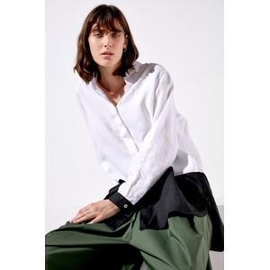 Block Colour Hidden Btns Shirt White/Black