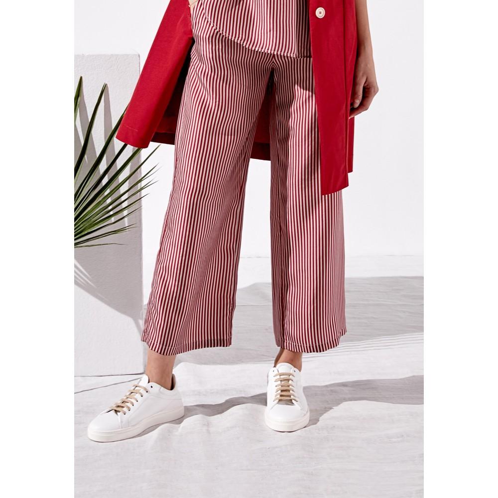 Rosso35 Tapered Leg Stripe Trouser White/Red