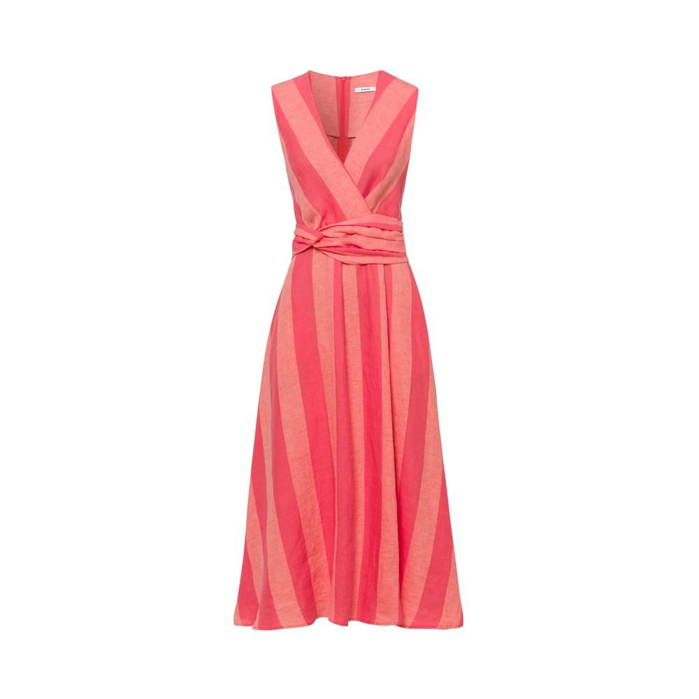 Riani S/L Linen Stripe Dress Sorbet