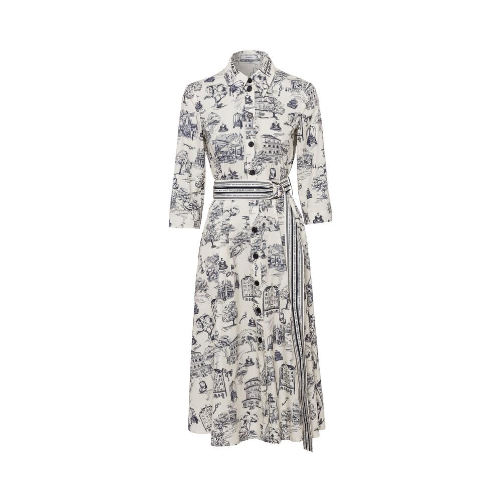 Riani Retro Print Dress Ivory/Blue