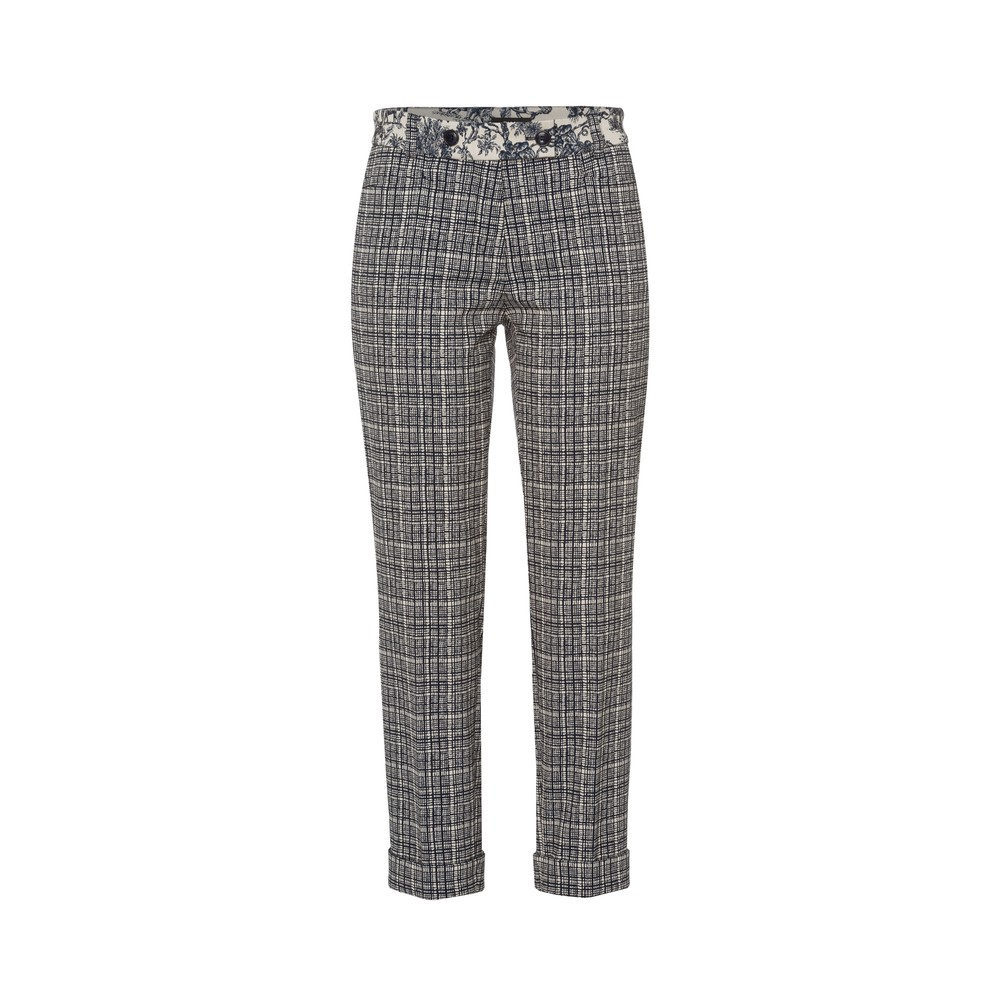 Riani Slim Fit Check Trousers Deep Blue
