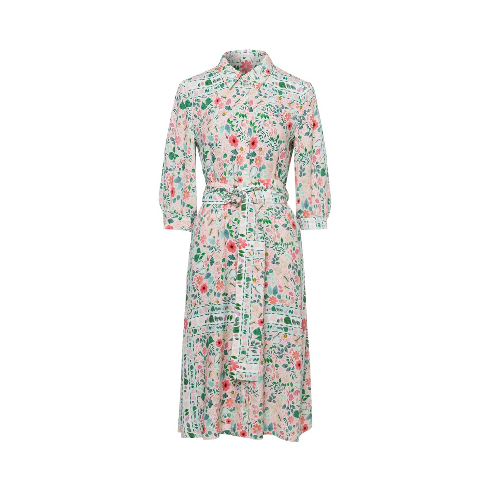 Riani Floral Shirt Dress w/Belt Powder/Multi