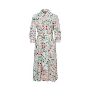 Floral Shirt Dress w/Belt Powder/Multi