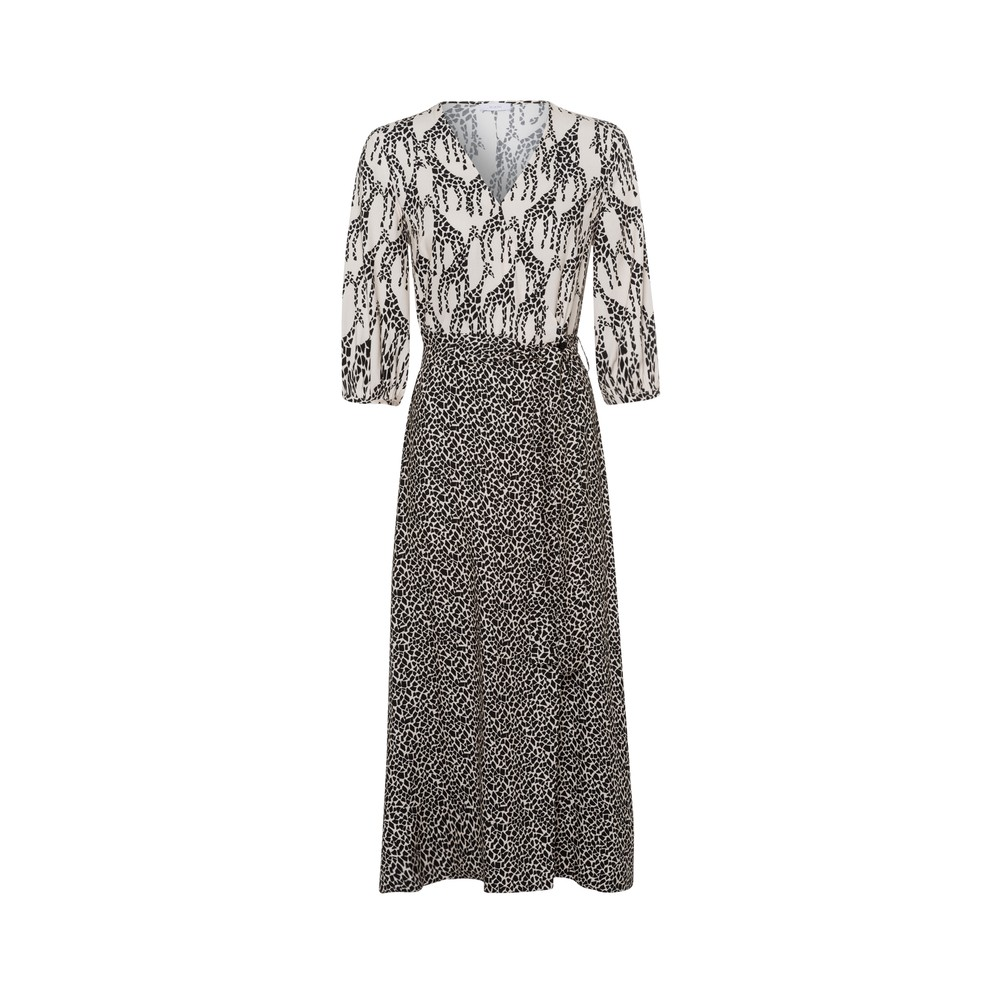 Riani Giraffe Print Wrap Dress Ivory/Black