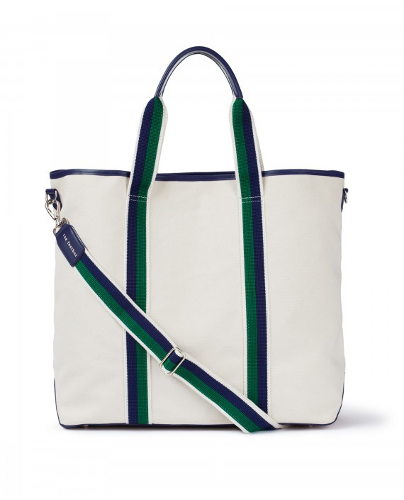 Rae Feather  Canvas Tote Cream/Green/Navy