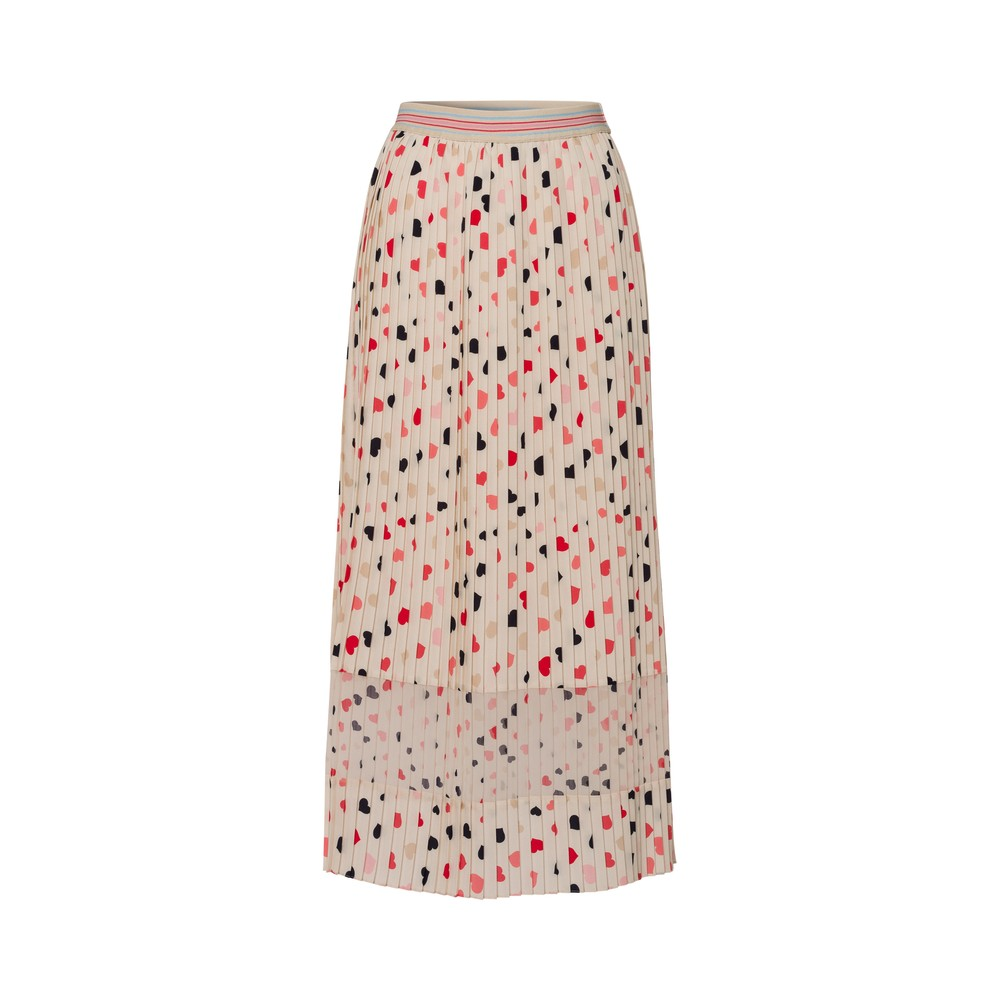 Riani All Over Hearts Pleated Skirt Ivory/Multi