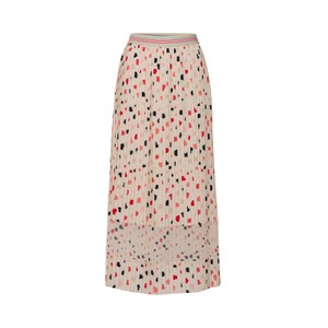 All Over Hearts Pleated Skirt Ivory/Multi