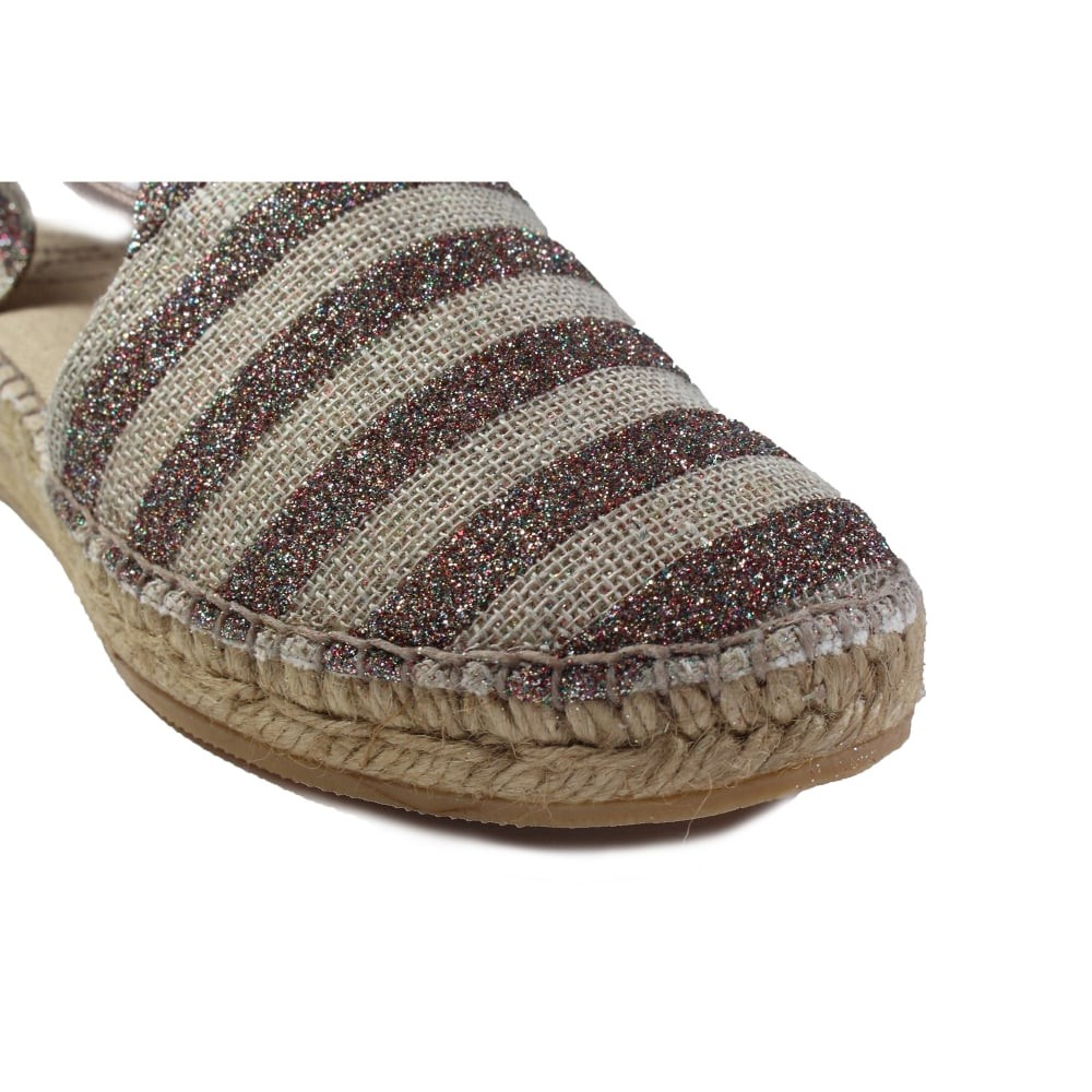 Toni Pons Nancy Glitter Strp Shoe Stretch Sides Taupe/Multi