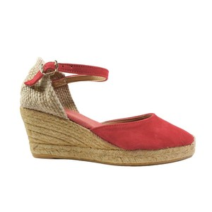 Toni Pons Lloret Suede Wedge Ankle Strap Dusty Red