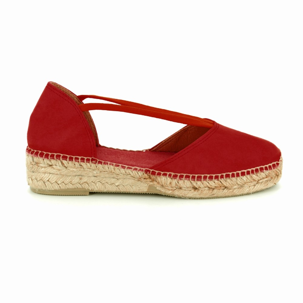 Toni Pons Erla Suede Shoe Stretch Straps Red