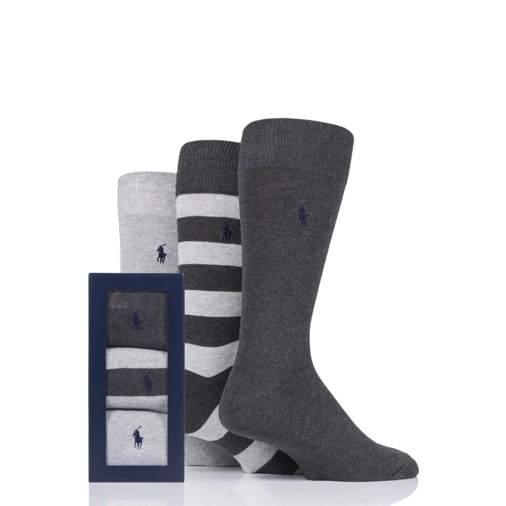Polo Ralph Lauren 3Pk Rugby Stripe Socks Grey/Dk Grey/Navy