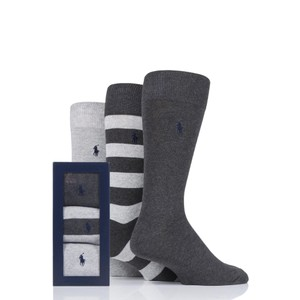 Polo Ralph Lauren 3Pk Rugby Stripe Socks in Grey/Dk Grey/Navy