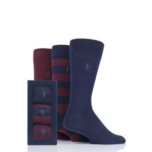 3Pk Rugby Stripe Socks Wine/Navy/Green