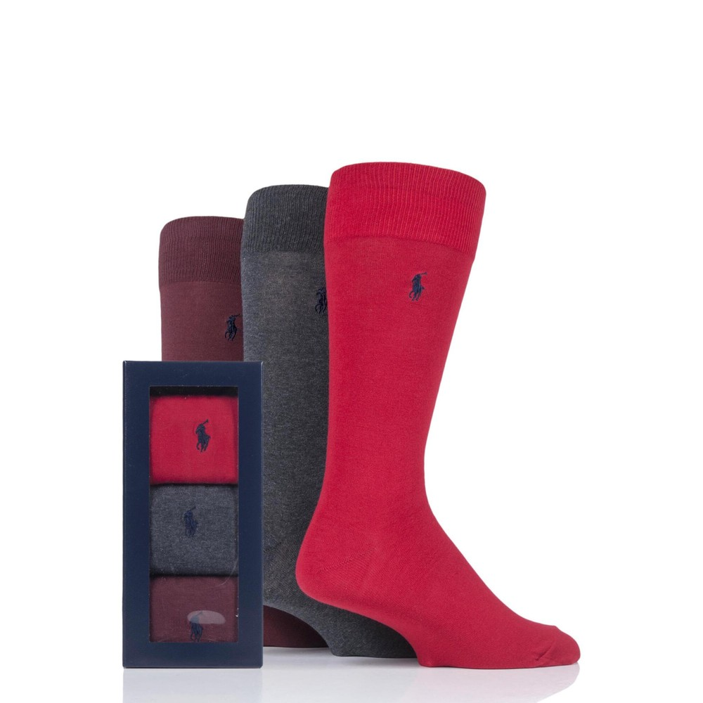 Polo Ralph Lauren 3Pk Solid Crew Socks Pion Red/Charcoal/Wine