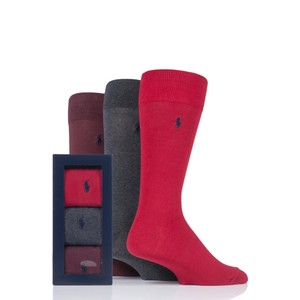 3Pk Solid Crew Socks Pion Red/Charcoal/Wine