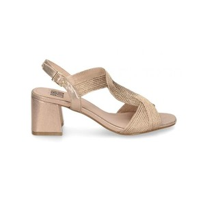Twisted Rope Block Heel Sandal Rose Gold