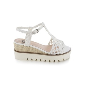 Plaited Straps Wedge Sandal White