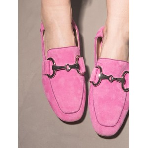 Buckle Suede Loafer Fuchsia