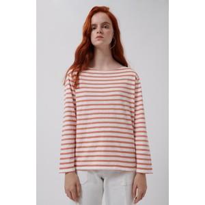 Loreak Boat Slub Stripe Top White/Rose