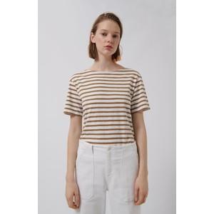 Sail Club Stripe Tee White/Camel