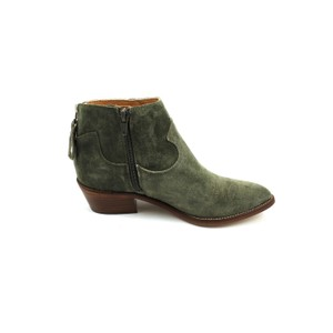 Cowboy Stitch Suede Ankle Boot Military Green