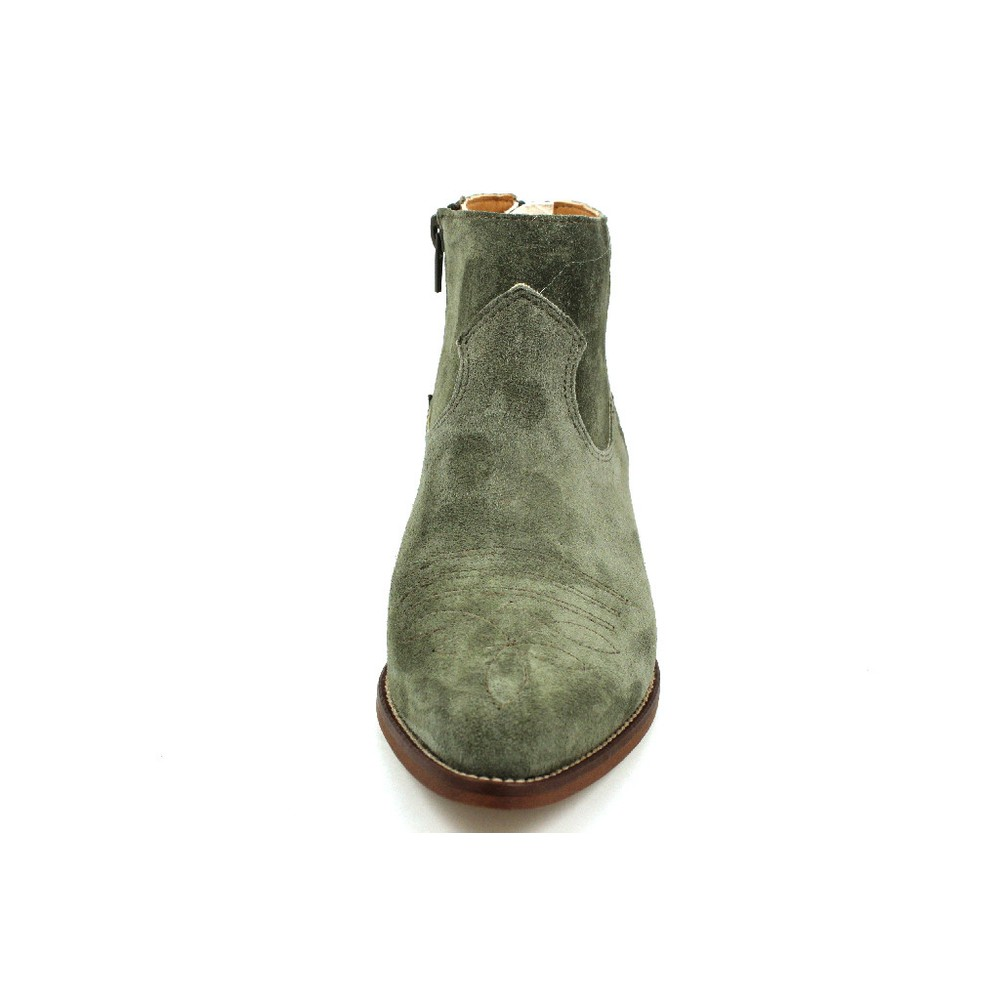 Alpe Cowboy Stitch Suede Ankle Boot Military Green