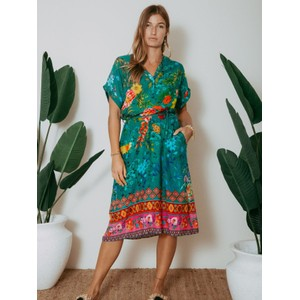 Violet Safari Dress Emerald Green/Multi