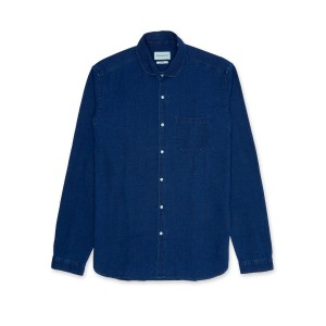 Oliver Spencer Clerkenwell Tab Shirt in Kildale Indigo Rinse