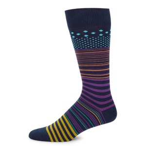 Screen Stripe Socks Navy/Purple/Multi