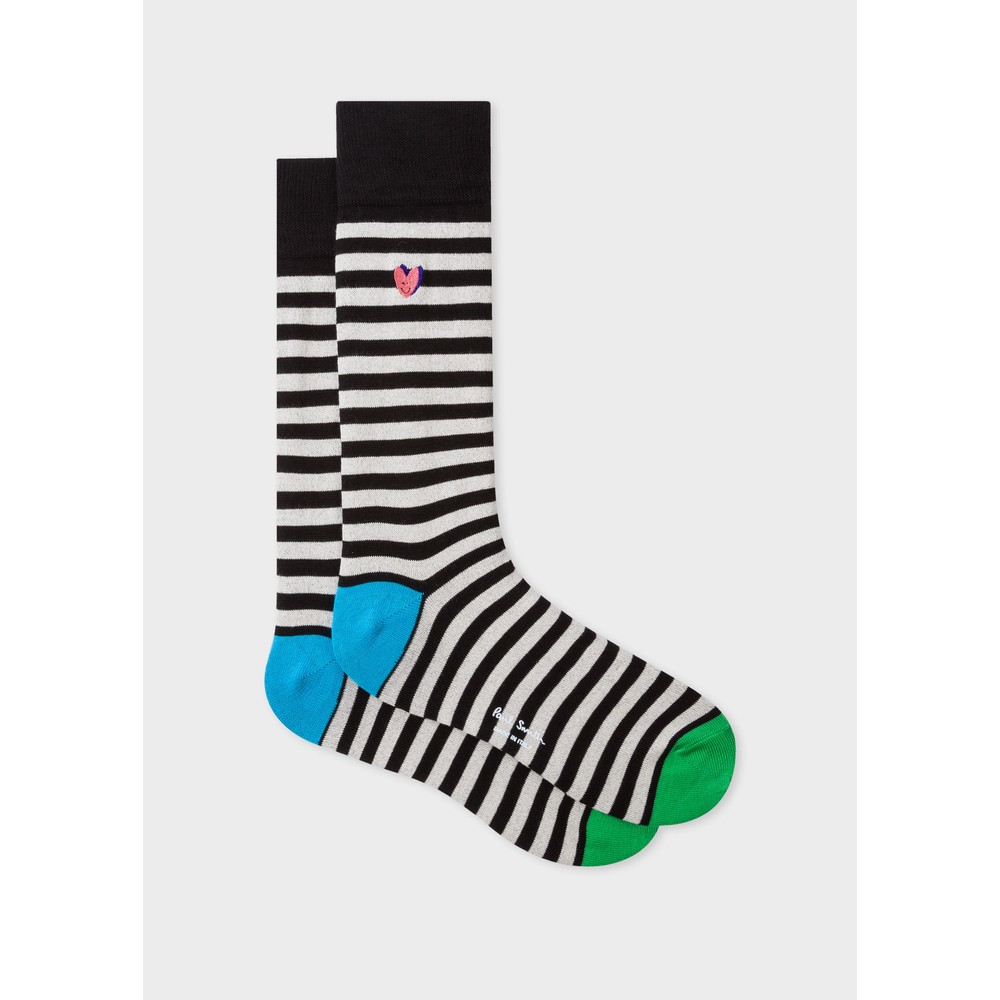 Paul Smith Accessories Nerrina Heart Stripe Sock Black/White