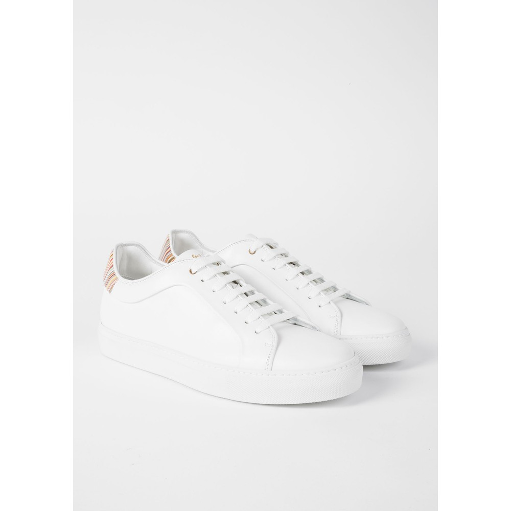Paul Smith Shoes Basso Stripe Tab Trainer White