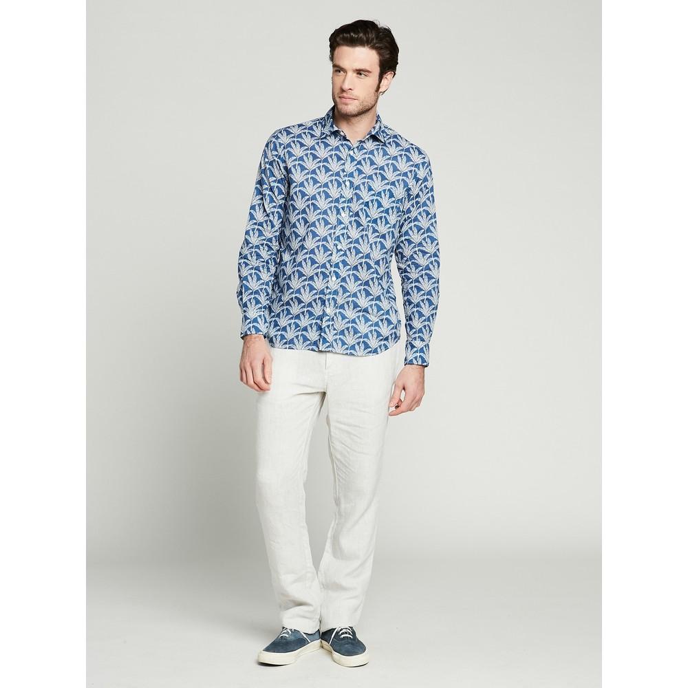 Hartford Palm Leaf Cotton Shirt Navy/beige