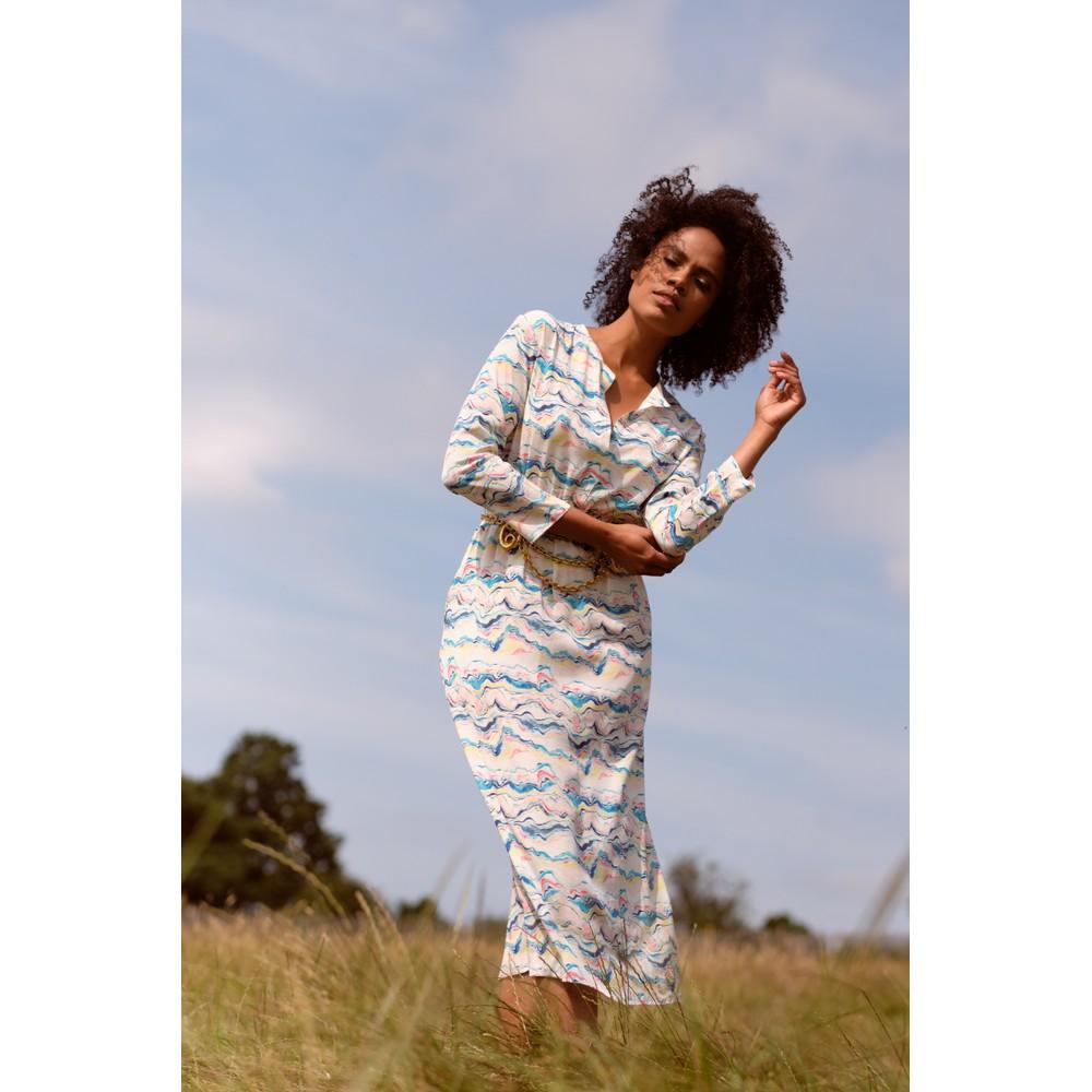 Primrose Park Tiffany Wave Print Dress Blue/Multi