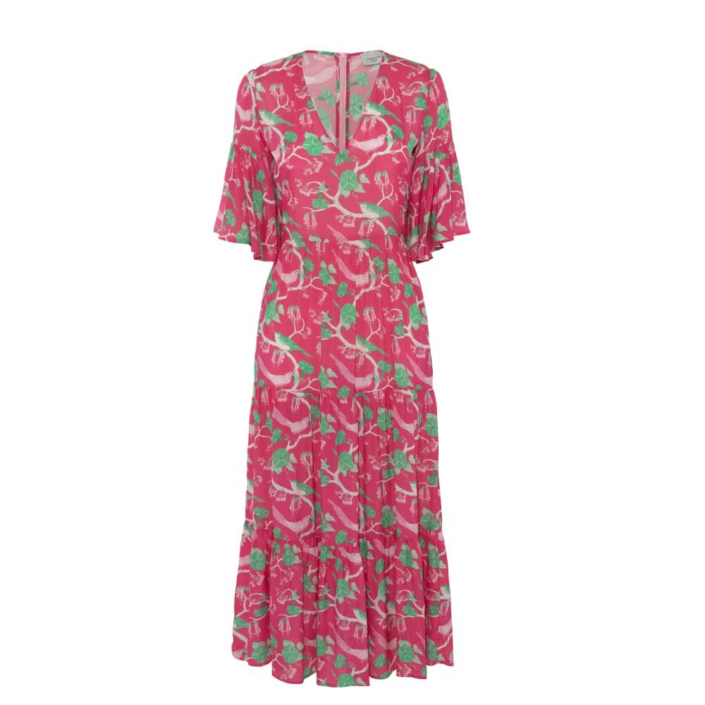 Primrose Park Alice Glorious Bird Dress Pink/Green