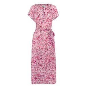 Fiona Leopard Tie Belt Dress Blue/Pink