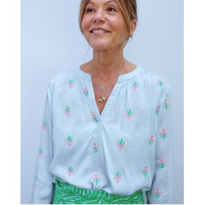 Sandy Open Embroidered Shirt Blue