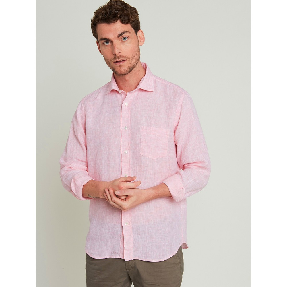 Hartford Long Sleeve Linen Shirt Pink