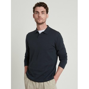 Hartford Light Open L/S Polo Navy